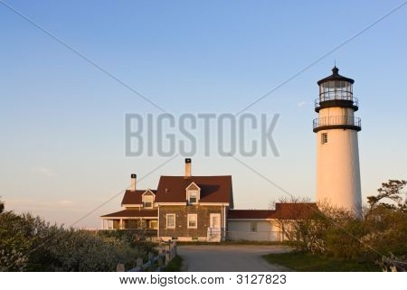 Highland Lighthouse In Cape Cod, Massachusetts, Usa At Sunset
