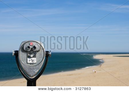 Coin Operated Binoculars For Beach Observation, Blue Sky And Ocean