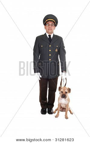 Guard With Dog.