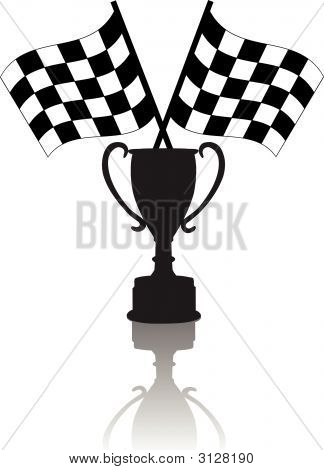 Checkered Flags Victory Trophy.Eps