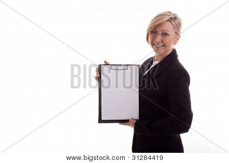 Business Woman With A Notepad Unwritten