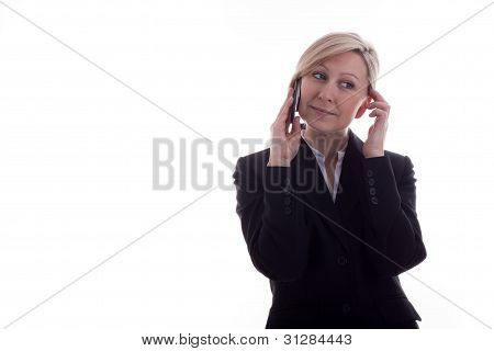 Businesswoman On The Phone Has Satisfied
