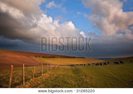 Stunning Scene Across Escarpment Countryside Landscape With Beautiful Clouds Formations