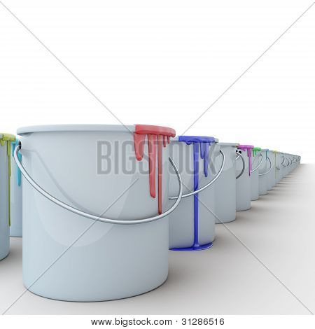 buckets with paints