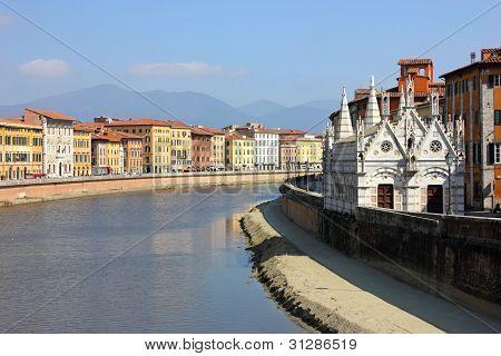 Pisa Riverside View With The Church Santa Maria Della Spina