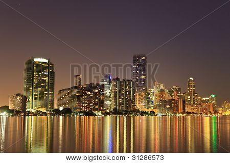 Miami Florida Bayfront Skyline At Night