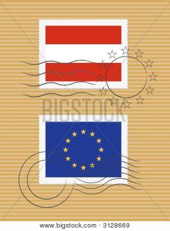 Flag Of Austria And European Union
