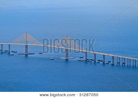 Aerial View Of Sunshine Skyway Bridge, Florida