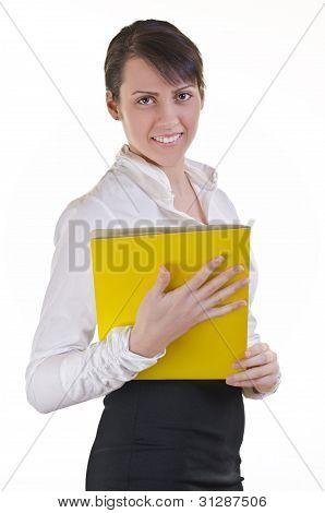 Office Assistant Hoding File Folder