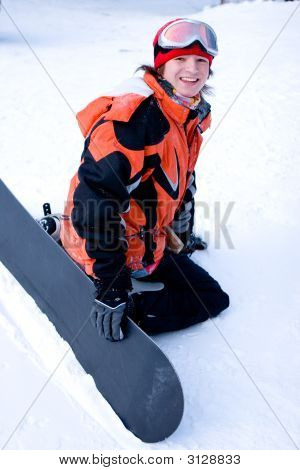 A Health Lifestyle Image Of Young Adult Snowboarder After Incidence (Series Sport, Extreme, Mountain