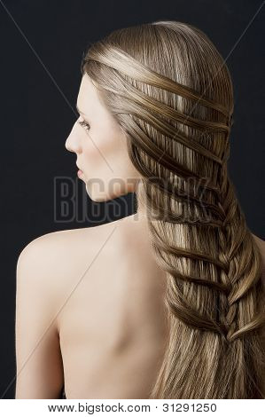 Long Hair And Fashion Hairstyle, She Looks Down At Left