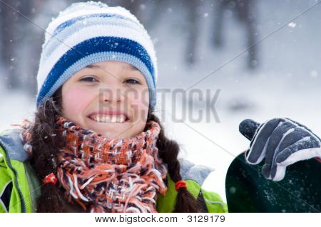 Laughing Beautiful Girl Snowboarder, Snowfall (Series Sport, Extreme, Mountains, And Teenager
