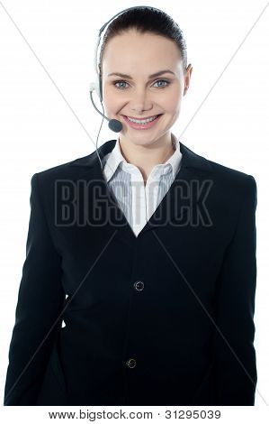 Woman Wearing Headsets, Could Be Receptionist