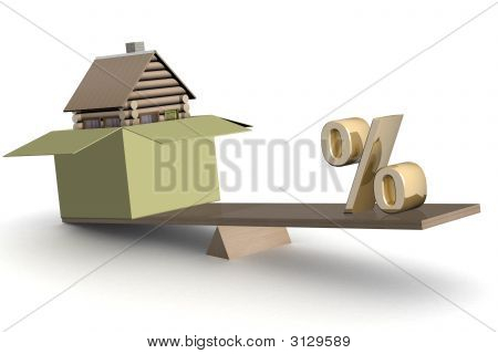 House In Box And Percent On Scales. 3D Image.