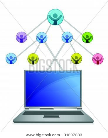laptop and social network grid illustration over white