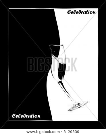 Bottle And Wineglass With Wine Are Line Drawing In Black&White Are Resting Belong Together