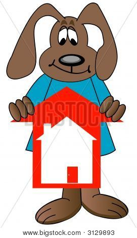 Dog Cartoon Holding Housing Up Arrow
