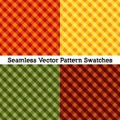 Gingham Cross Weave Seamless Patterns, Vector File Includes Four Pattern Swatches That Will Seamless poster