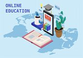 Online Education Isometric Icons Composition With Books From Smartphone Electronic Library Online Gl poster