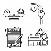 Mortgage Approved Icons Set. Outline Set Of Mortgage Approved Vector Icons For Web Design Isolated O poster