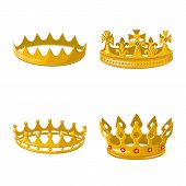 Isolated Object Of Monarchy And Gold Icon. Collection Of Monarchy And Heraldic Stock Symbol For Web. poster