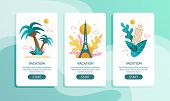 Vacation In Tropical And European Countries Mobile Page Set. Flat Vector Interest Sights Illustratio poster