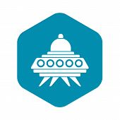 Alien Spaceship Icon. Simple Illustration Of Alien Spaceship Vector Icon For Web poster