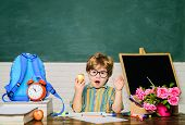 Healthy Dinner In School. Delicious Food For Lunch. Primary School Kid Eat Lunch. Little Schoolboy I poster