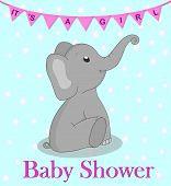 Invitation Card Baby Shower With Elephant For Girl. Cute Elephant With Flags On Turquoise Background poster