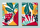 Trendy Cover With Tropical Leaves And Exotic Fruits. Abstract Collage Style. Two Floral Vector Templ poster