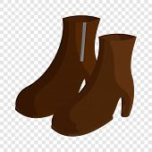 Pair Of Brown Female Boots Icon. Cartoon Illustration Of Pair Of Boots Vector Icon For Web poster