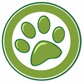 stock photo of paw-print  - Illustration Of Green Paw Print Banner Cartoon Character - JPG