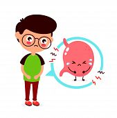 Sad Sick Young Man With Food Poisoning Stomach Character. Vector Flat Cartoon Illustration Icon Desi poster
