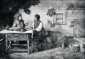 The festive conversation. Engraving by Berg and Pupp from picture by Trutovsky. Published in magazin