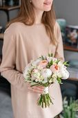 Bridal Bouquet With White. Beautiful Bouquet Of Mixed Flowers In Woman Hand. Floral Shop Concept . H poster