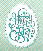 foto of happy easter  - Vintage Easter card with calligraphic inscription and lacy paper eggs - JPG