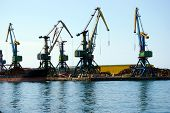 stock photo of sakhalin  - Seaport on Sakhalin beside quay ship on quay  - JPG