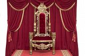 Red Royal Chair On A Background Of Red Curtains. Place For The King. Throne poster