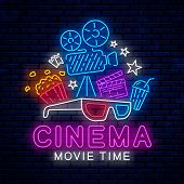 Cinema Bright Neon Sign. Ready Bright Design For Advertising, Banner, Poster And More. Bright Neon T poster