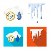 Isolated Object Of Weather And Climate Sign. Collection Of Weather And Cloud Vector Icon For Stock. poster