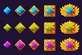 Gems Award Progress. Golden Amulets Set With Square Jewelry. Vector Icons Assets For Game Design. poster