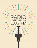 Vector Icon For Radio Station With Microphone And Place For Text In Retro Style. Radio Broadcasting  poster