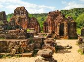Great Ruins Of Old Mysterious Temple Built From Bricks From 5th Century. Various Architectural Build poster