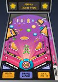 Pinball Machine Ready To Play Game Realistic Composition With Flashing Lights And Insert Coins Messa poster