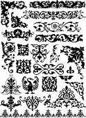 stock photo of scroll design  - set of beauty vector floral design elements - JPG
