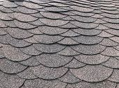 Photo Of Soft Shingles Tiles. Texture Of The Soft Roof. Roofing, Made Of Shingles. Texture Of Shingl poster