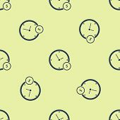 Blue Time Is Money Icon Isolated Seamless Pattern On White Background. Money Is Time. Effective Time poster