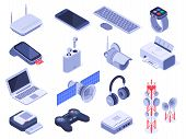 Isometric Wireless Devices. Computer Connect Gadgets, Wireless Connection Remote Controller And Rout poster