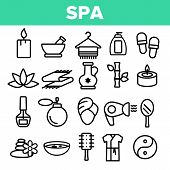 Spa Beauty Service Linear Icons Set. Spa Treatments Thin Line Contour Symbols. Asian Therapy, Altern poster