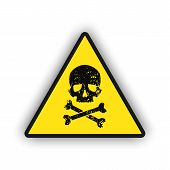 Toxic Warning Yellow Sign Icon Isolated On White Background. Hazard Or Warning Sign With Skull And B poster